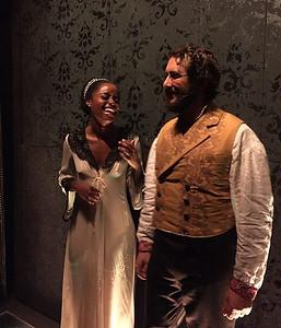 joshgroban  10/28/16  Pierre and Natasha (@deneebenton) share a final giggle fest before starting act 2. (📸 @emmaath)