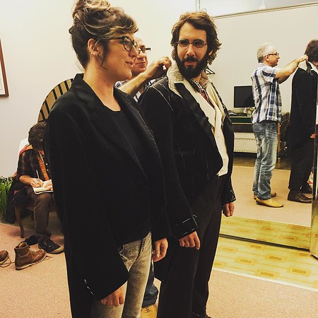 tovamoreno   Designer Paloma Young and actor Josh Groban being tailcoat twins for a moment during Josh's Great Comet fitting back in the autumn. #greatcometof1812 #tailoring #palomayoung #joshgroban #arturandtailors
