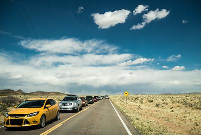 Long line of cars.