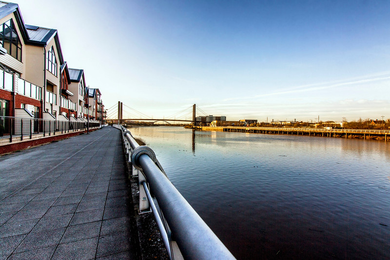 River Usk view to George Street Bridge, Newport, South Wales 2