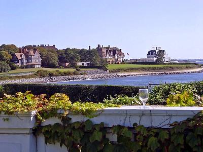 Walking along the Cliff Walk in Newport, Rhode Island