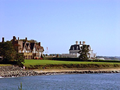 A view of the private homes that line The Cliff Walk in Newport, Rhode Island