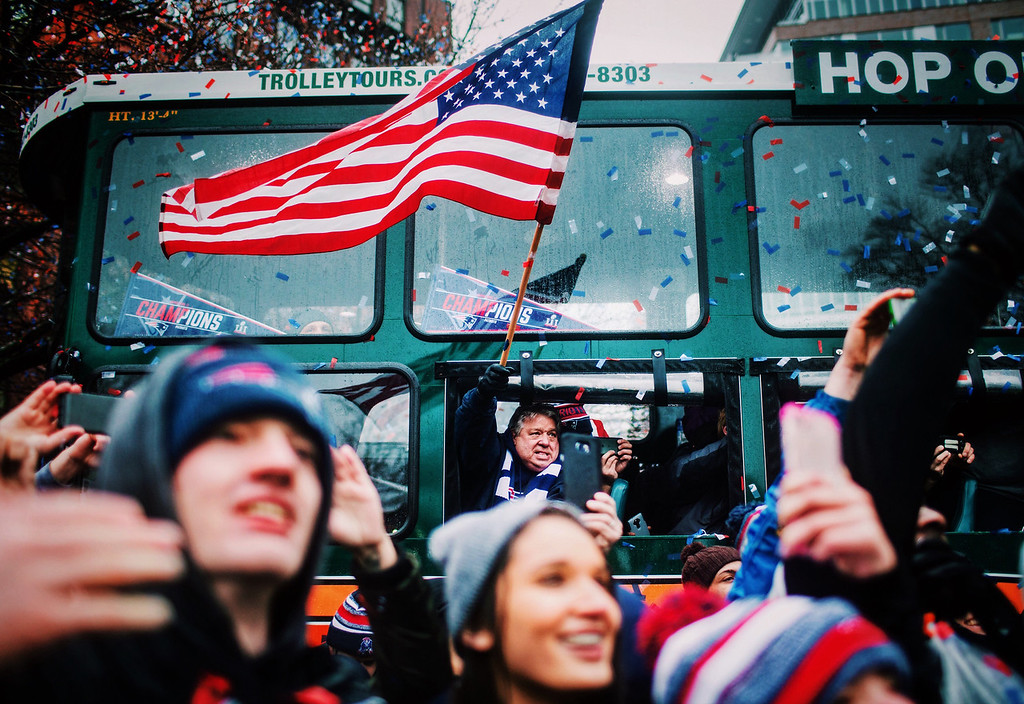 Fans cheer during the New England Patriots Super Bowl 51 victory parade on February 7, 2017 in Boston, Massachusetts.