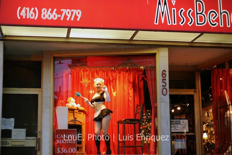 December 27, 2008<br /> <br /> I've always wanted to take some kind of creative for this store in Queen St West.  My friend and I were going for dinner and I decided to do a quick 5fps shoot driving by.  I thought it was funny that the model would actually give me a wave as we drove by.  <br /> I'm sure I'll eventually take some kind of creative at this location and I definitely won't be in the car.