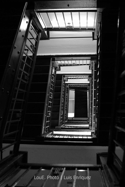 August 23, 2008<br /> <br /> The staircase in my building made for an interesting shot.  The elevator was on service and the natural light from the windows at the time of day made for an opportune pic.