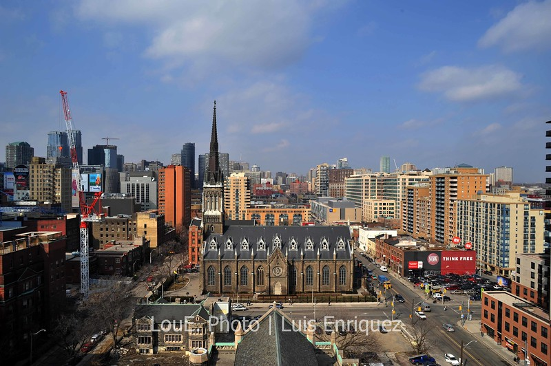 March 6, 2009<br /> <br /> This shot is the north view from the roof of the Metropolitan United Church.  I wish I'd had my tripod as it would have been great to do a 360 degree panoramic shot.  On occasion I use the D Lighting feature for scenic shots and it definitely helped for this picture.