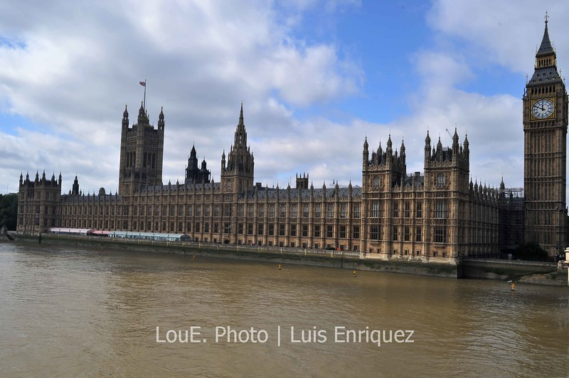 August 15, 2009<br /> <br /> Palace of Westminister and Big Ben<br /> London, UK<br /> <br /> I just love the immensity and the Neo-gothic style of this beautiful building.  I don't think anything symbolizes London more than this and I stood on Westminister Bridge for a good hour gazing and taking pictures.  I fought off tourists for position and after several close calls of possibly ugly confrontations it was time to go.