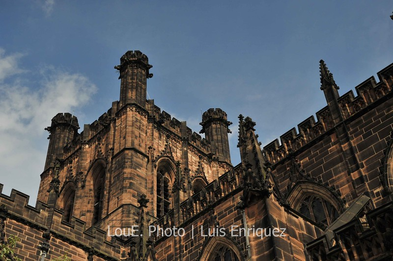 August 18, 2009<br /> <br /> Chester Cathedral<br /> Chester, UK<br /> <br /> Chester Cathedral is probably the most prominent building and one of the top tourist attractions in Chester.  It was founded in 660 and is beautiful to look at both in its exterior and interior.  The detailed gothic architecture and history of the interior kept me photographing non stop for over an hour. <br /> This shot shows the red sandstone of the gothic exterior.