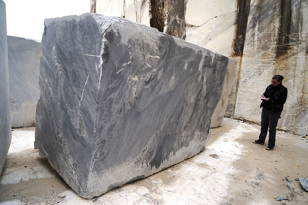 The marble block in the quarry
