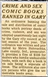 CRIME AND SEX COMIC BOOKS BANNED IN GARY