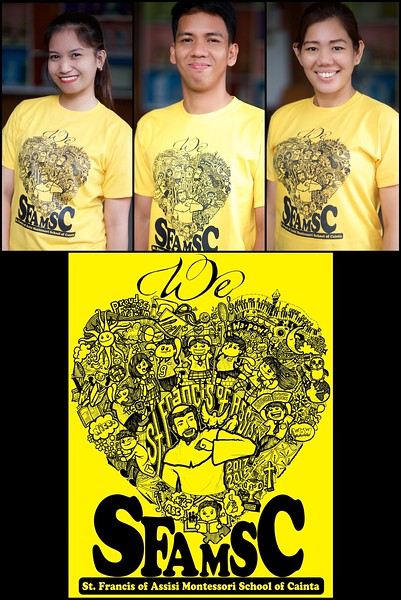The official t-shirt of St. Francis of Assisi Montessori School of Cainta is now available for sale! Show to the world your proud loyalty to SFAMSC by wearing this bright, beautiful, and comfortable t-shirt drawn and designed by fellow Franciscan and SFAMSC alum, Dona Louise Diaz.<br /> You can buy them at the Accounting office for only 300 pesos. Only a limited run! Buy now while supplies last!