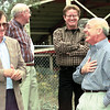 Caddo Lake Institute President Dwight Shellman and U.S. Congressman Jim Chapman share a laugh while touring the wetlands project at Marshall High School Tuesday, an ongoing project maintained by volunteer students in Peggy Byassee's science class.  Lester Phipps, Jr.