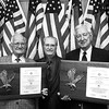 Recipients of American Legion 50 year certificates. Troy Forbis on the left and Congressman Ralph Hall on the right. In between is the post Cmdr Mike Anglin. Chris Matula photo.