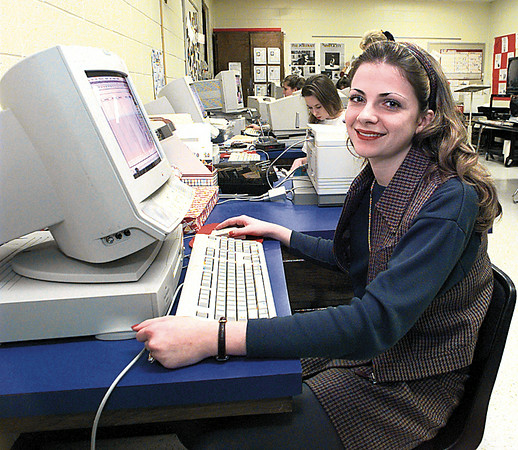 Class Act feature---Carthage High School student Lee Ann Anderson in her Journalism/Yearbook class.   Lester Phipps, Jr.