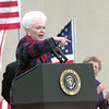 Former Texas Governor Ann Richards pumps up the crowd before the President's arrival.  Lester Phipps, Jr.