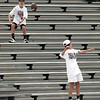 Jace Allen, left, and Russell Beeman, both 12, toss the pigskin around Roughneck Stadium in White Oak. Chris Matula photo.