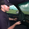 ET police cadet John Rowe takes a turn around the academy driving course. Matula photo.