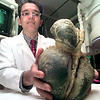 Dr. Rod Martinez a radiologist with Longview Regional Medical Center, holds what is a fossilized heart. Kevin green