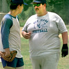 Date:   6/3/98----Lucas Carrington, left a soph. talks with New Diana Coach Russell Jarvis during practice. Kevin green