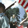 """Medal of Honour Winner James M. Logan prepairs to give a  Pledge of Allegiance to the United States at the """" In God We Trust"""" Patriotic Rally held at Lobo Stadium at LHS. Sunday. Obie LeBlanc."""