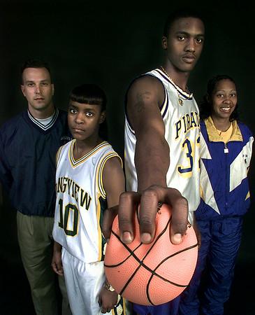 03/26/98--1998 MVPs and Coaches from ET. (l-r) Beckville boys' coach Alan Simmons, LHS's Kristina Taylor, PTHS's Keith Gray and PT girl's coach Deborah Robinson. Matula photo.