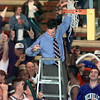 Beckville head coach cuts the last cord of the region net Saturday after the Bearcats defeated East Chambers in Tyler. Matula photo.