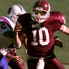11/21/98---White Oak quarterback (10) is brought down for a sack Daingerfield defender (2) in the first half of their playoff game at Lobo Stadium. bahram mark sobhani
