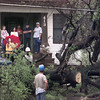 Date:   9/15/98---Residents of an apartment house in the 400 block of Green Street watch as crews works to remove a fallen tree from a powerline in their front yard. Contstant rains were blamed for toppling the tree, which cut powerlines to many households and businesses. bahram mark sobhani