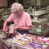 8/4/99---JoAn Merrill, with Wesley McCabe United Methodist Church sorts through books Wednesday mornign at First United Methodist in LVG. Kevin green