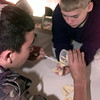 12-29-99---Adam Bell, 14, left, of Bossier City LA., and Josh Hollas,11, right, of Tyler, makes a dental model  during a class on dentistry Wednesday morning at the Boy Scout Camp outside Carthage. Kevin GReen