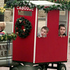 12/4/99---Jake Butler, 4, left, and his brother Reese, 7, ride in the caboose of the Fun Train Saturday outside the Gregg County Museum during the annual Living History Christmas. bahram mark sobhani