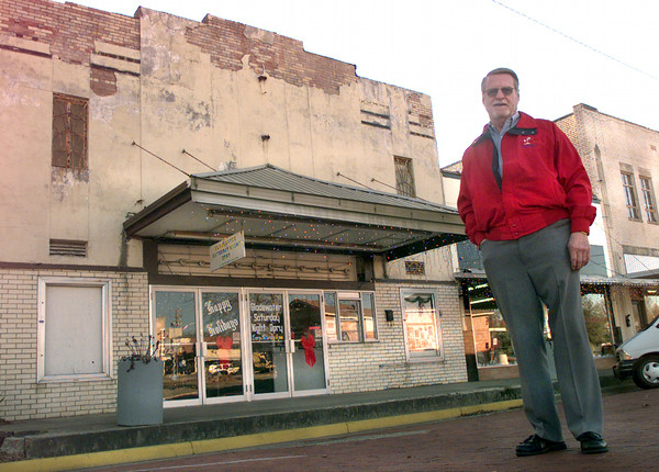 12-21-99---Gladewater Main Street project director Lon Welton out in front of the Gladewater Saturday night Opry house Tuesday afternoon in downtown Gladewater. The opry house is the former Cozy Theater. Kevin Green