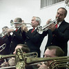 7/12/99-Trumpet and trumbone players of the Sounds of Swing band play a tune.   Jessica Williamson