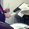 7/12/99-Drummer Bev Brown keeps the beat for the Sounds of Swing band.  Jessica Williamson