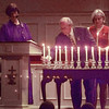 11/22/99---Aggie alumni light twelve candles in rememberance of those who lost their lives last week in the A&M Bonfire accident. The memorial service was held Monday night at Oakland Heights Baptist Church. At left is Iva Holyfield, past president of the Deep East Texas Aggie Moms, and organizor of the event. bahram mark sobhani