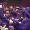 10/19/99---Bobbie Allen receives the flag that draped her husbands casket from a Longview High School ROTC member during funeral services for the Reverend James Earl Allen at T.G. Fields Auditorium in Longview Tuesday. bahram mark sobhani