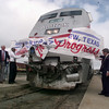 10/8/99---An Amtrak train rips through a banner at a news conference Friday at the Longview Amtrak Station. Local officials celebrated two succesful years of partnership with Amtrak and Union Pacific. bahram mark sobhani