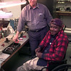 10-7-99--Stroud Morton, left, the production manager, with Audex, left, with employee John king, right, at Audex in Longview. Kevin Green