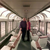 10/8/99---People tour an Amtrak lounge car Friday at the Longview Amtrak station following a news conference. Four cars on display will later be exhibited at the State Fair of Texas Railroad Museum in Dallas. bahram mark sobhani