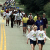 4/29/00---Lauryn Blanton, 10, and Alisha Koonce, 11, walk up Tryon Rd. towards LeDuke during the March of Dimes WalkAmerica Saturday in Longview. More than 1000 people took part in the fundraising event. bahram mark sobhani