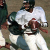 08-31-00--Longview Lobo quarterback sets up to throw the ball during the practice game. by Kitta Dory