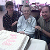 8-31-00---Anna Maria Shepherd, left, and Rick Shepherd, right, pose for a photo with Anna's mother Martha Richter, center Thursday evening at Holiday Lodge in Longview. Richter will be turning 100 on Saturday. Kevin GReen