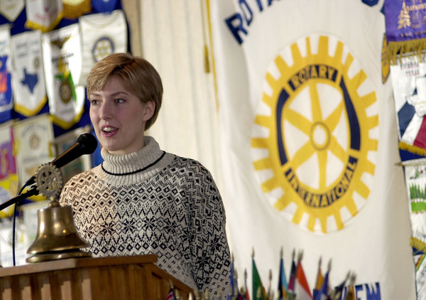 Kathryn Baney speaks to the Longview Rotary Club Friday December 29, 2000 and thanks them for their scholorship  she will use to study abroad in Argentina. Les Hassell