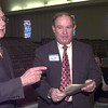 2-28-00---Dr. Bill Toler, left, visits with ETBU's Wallace Watkins Monday afternoon at ETBU in Marshall. Kevin GReen