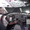 Airline pilot Dan Lange in the flight simulator at American Airlines. Kevin GReen