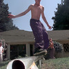 Jarrod Kyle, 13, skates on a pipe at a home in Longview. Kevin GReen