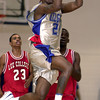 Kilgore's Ronald Lewis launches a buzzer shot to put the Rangers within three points of Lee College at the end of the first half of Wenesday's November 29, 2000 game at Kilgore College. Les Hassell