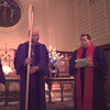 Bishop Alfred L. Norris, left,  recieves the pastoral staff  during installation ceremonies, while Reverend Jim Foster,right, assists at First United Methodist Church in Longview Saturday afternoon.  Norris has been named Bishop for the Texas Conference Of the United Methodist Church.  by DARLENE-9-30-00