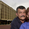 Ronnie and Dee Weaver pose for a photo in front of the Cargill building which they have recently purchased Wednesday August 29, 2001 in downtown Longview. Kevin green