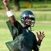 8-13-01----Joel Armstrong throws a pass durign the first day of practice.Kevin green